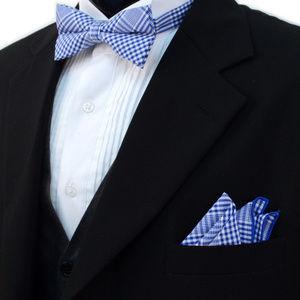 Mens Cotton Bow Tie Pocket Square Set